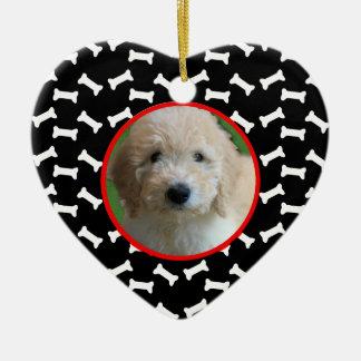 Dog Bone Christmas Puppy Picture Custom Date Christmas Ornament