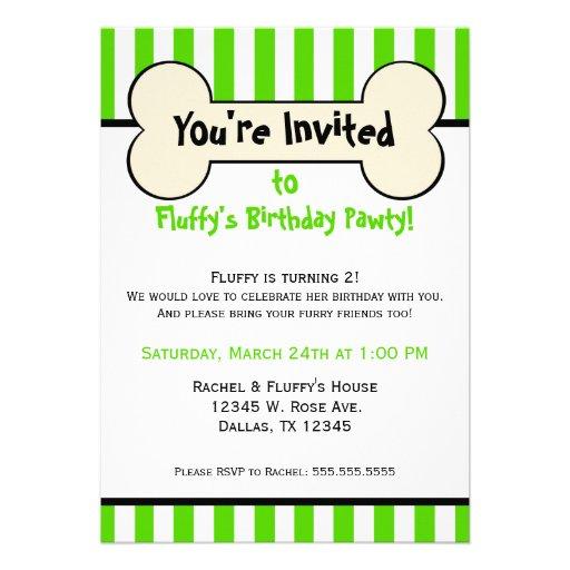 Dog Bone Green Striped Birthday Party Invitation