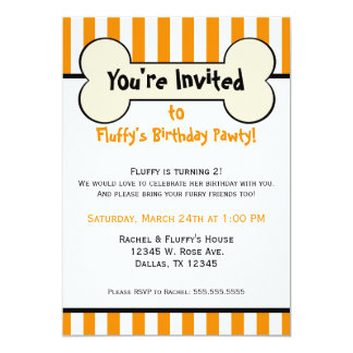 Dog Bone Orange Striped Birthday Party Invitation