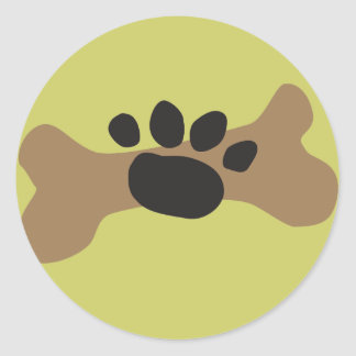 Dog Bone & Paw Print Round Sticker