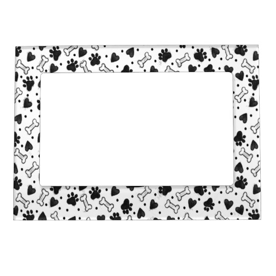 Dog Bone Paw Prints in Black and White Magnetic Picture Frame ...