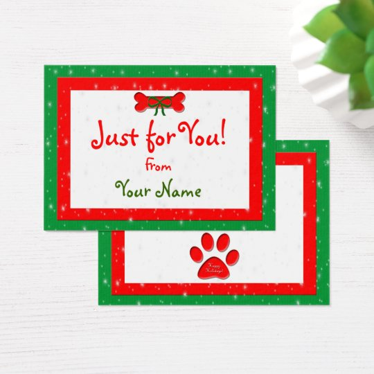 Dog Bone Personalised Christmas Gift Business Card