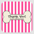 Dog Bone Pink Striped Party Favour Stickers