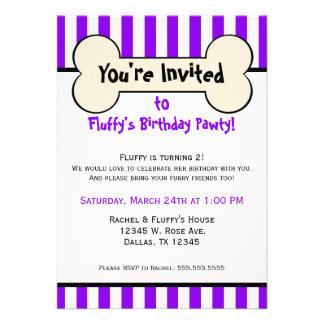 Dog Bone Purple Striped Birthday Party Invitation