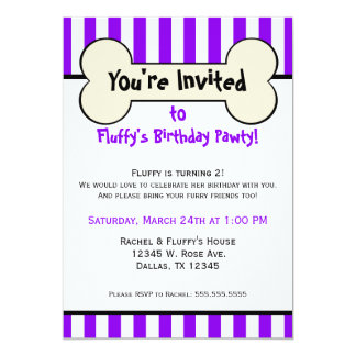Dog Bone Purple Striped Birthday Party Invitation