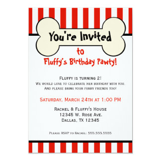 Dog Bone Red Striped Birthday Party Invitation