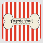 Dog Bone Red Striped Party Favour Stickers