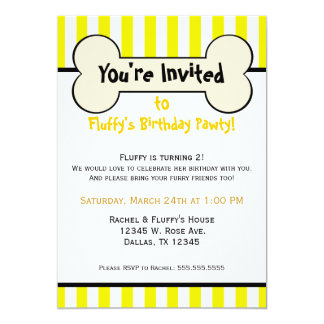 Dog Bone Yellow Striped Birthday Party Invitation