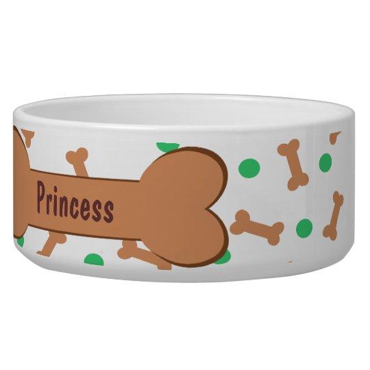 Dog Bones and Green Polka Dots Pet Food Bowl