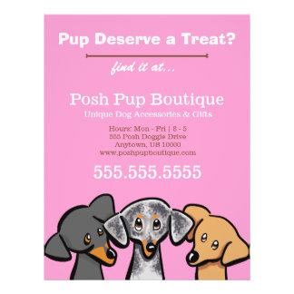 Dog Boutique Shop Three Pups Pink Promotional 21.5 Cm X 28 Cm Flyer