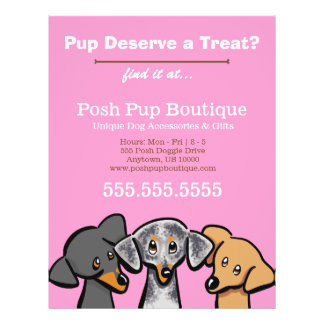 Dog Boutique Shop Three Pups Pink Promotional Personalized Flyer