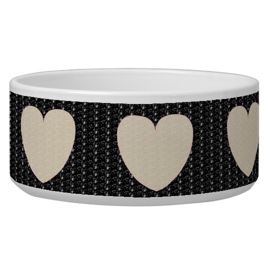 Dog Bowl Black White Heart Glitter