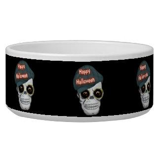 Dog Bowl Skeleton Head Happy Halloween