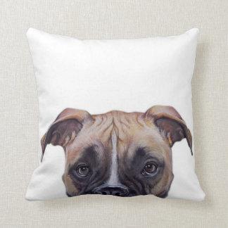 Dog boxer, original painting print by miart throw pillow