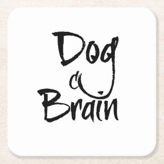 Dog Brain Square Paper Coaster