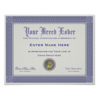 Dog Breed Lover Personalized Certification Poster