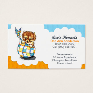 Dog Breeder Pomeranian Puppy Blue Citrus Business Card