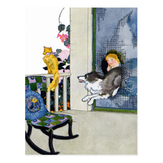 Dog Busts Screen Door to Get Cat Postcard