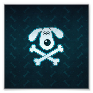 Dog Cartoon Blue Rain Bones Background Photo Print