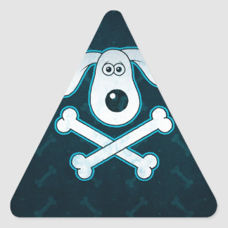 Dog Cartoon Blue Rain Bones Background Triangle Sticker