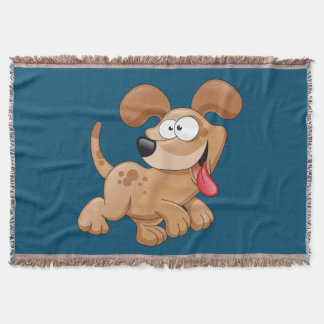 dog cartoon running throw blanket