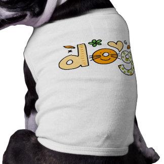 Dog Cartoon White Pet Ribbed Tank Top Sleeveless Dog Shirt