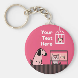 Dog Cat and Aquarium keyring Basic Round Button Key Ring