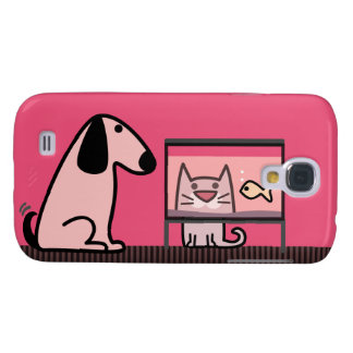 Dog Cat and Aquarium - red Galaxy S4 Case