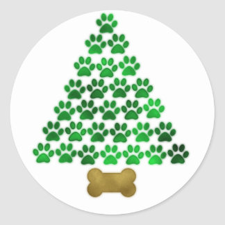 Dog / Cat Christmas Tree Classic Round Sticker