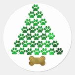 Dog / Cat Christmas Tree Round Stickers