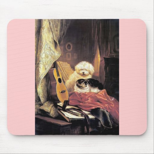 Dog Cat Guitar Music Painting Mouse Pads