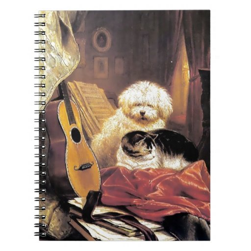 Dog Cat Guitar Music Painting Spiral Note Book
