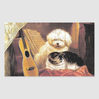 Dog Cat Guitar Music Painting Rectangle Sticker