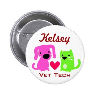 Dog Cat & Heart Vet Tech Pinback Button