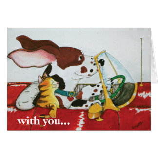 Dog Cat in Convertible Greeting Card