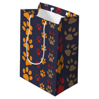 Dog & Cat Paw prints Design ~ editable background Medium Gift Bag