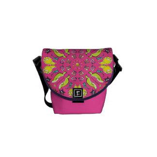 Dog cat Pink colourful cute symmetry Messenger Bag