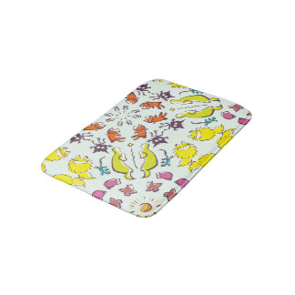 Dog cat sparrow Colorful cute symmetry Bath Mat