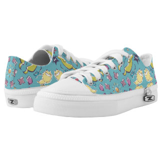 Dog cat sparrow Colorful cute symmetry Low Tops