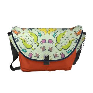 Dog cat sparrow Colorful cute symmetry Messenger Bag