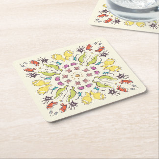 Dog cat sparrow Colorful cute symmetry Square Paper Coaster