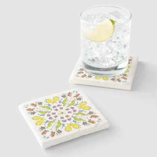 Dog cat sparrow Colorful cute symmetry Stone Beverage Coaster