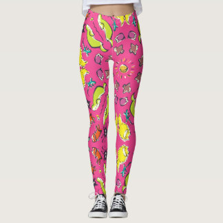 Dog cat sparrow Colorful Pink cute illustration Leggings