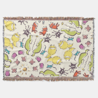 Dog cat sparrow Colourful cute symmetry Throw Blanket