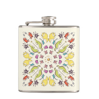 Dog cat sparrow Cream cute symmetry Hip Flask