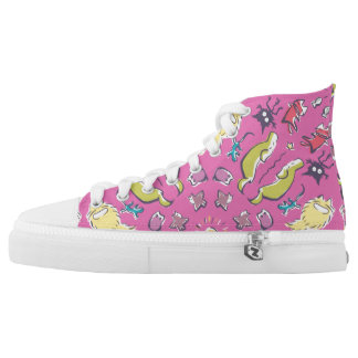 Dog cat sparrow Pink cute symmetry High Tops