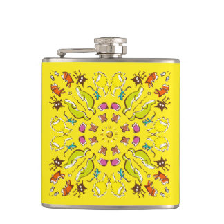 Dog cat sparrow Yellow cute symmetry Flasks