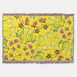 Dog cat sparrow Yellow cute symmetry Throw Blanket
