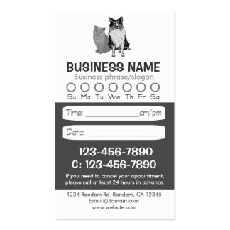 Dog cat veterinarian appointment cards business card