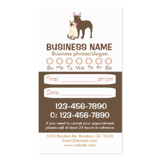 Dog cat veterinarian appointment cards pack of standard business cards